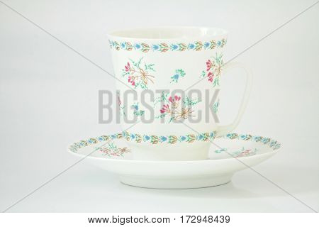 Beautiful white coffee cup and saucer bone china isolated on white