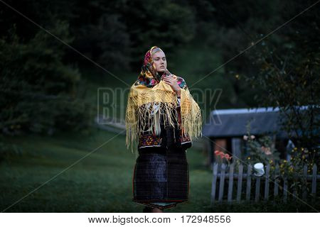Ukrainian Hutsul Woman In National Costume With Shawl On Her Head.