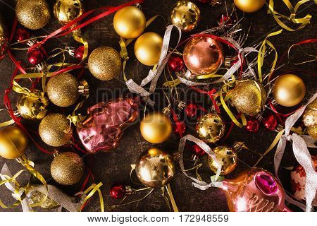 Colored Christmas toys on the table. Celebrate the New Year. Christmas background
