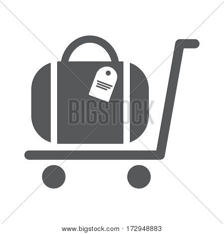 Luggage Trolley flat icon vector illustration EPS10