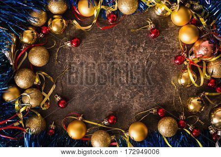 Frame of Christmas toys on table. Celebrate the New Year. Flat lay top view copyspace. New Year  background