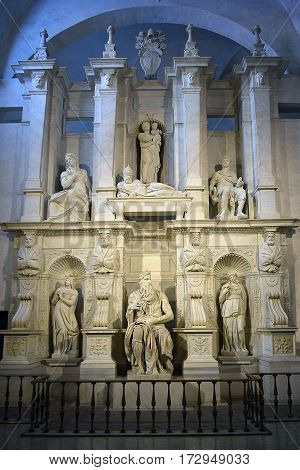 ROME, ITALY: January 01, 2017 : famous sculpture - Moses by Michelangelo, located in San Pietro in Vincoli basilica on January 01, 2017, Rome, Italy