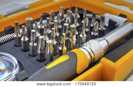 Mechanical bit tool set close up view