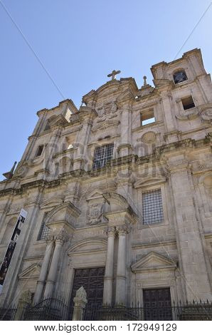 Facade of the church of San Laurence in the area next to the cathedral in Porto Portugal.