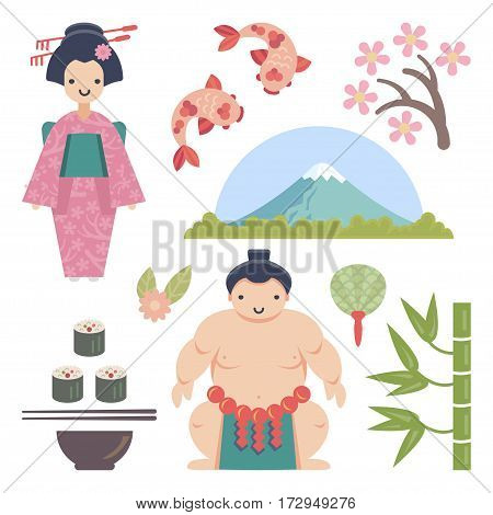 Japanese vector collection with Geisha, Sumo Wrestler, Sushi, Sakura, and other japanese symbols. Each object is handy grouped