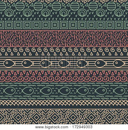 Ethnic textile decorative native ornamental striped seamless pattern with fish in vector
