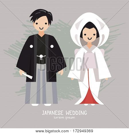 Vector illustration of Japanese  wedding . All objects are conveniently grouped and easily editable