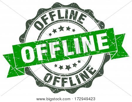 offline. stamp. sign. seal. round. retro. ribbon