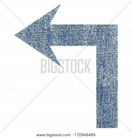 Turn Left vector textured icon for overlay watermark stamps. Blue jeans fabric vectorized texture. Symbol with scratched design. Blue ink rubber seal stamp with fiber textile structure.
