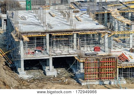 Tyumen Russia - April 8 2007: Construction of Tyumen dramatic theater