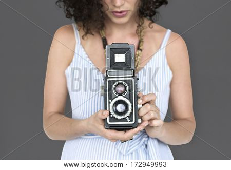 Women Hands Hold Camera Shoot