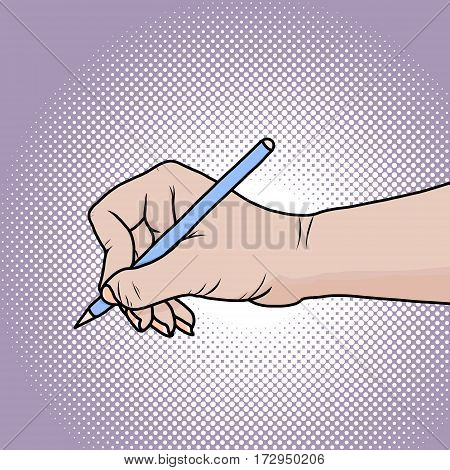 Drawing the right hand with a pencil or pen. Illustration in pop art comic