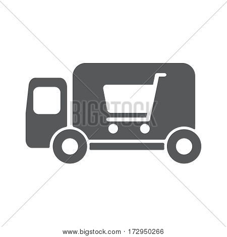 Delivery truck vector icon illustration. Shopping concept