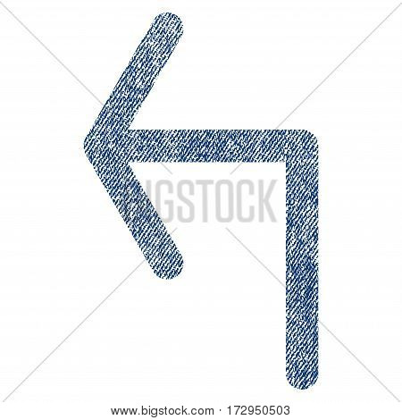 Turn Left vector textured icon for overlay watermark stamps. Blue jeans fabric vectorized texture. Symbol with dust design. Blue ink rubber seal stamp with fiber textile structure.