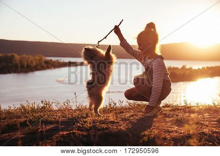 little girl playing with her pet dog Spitz