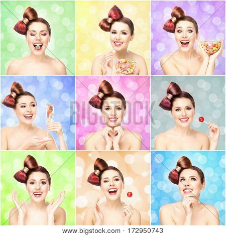 Happy beautiful smiling teenage girl with a candy lollipop on bright bubble background. Portrait collection.