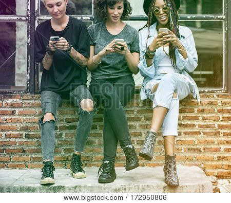 Gradient Color Style with Women Friends Hands Hold Mobile Phone