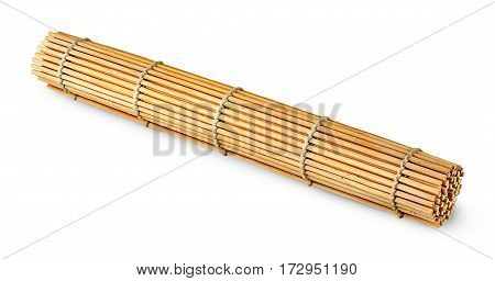 Rolled bamboo sushi mat isolated on white background