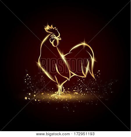 Golden Rooster on a black background. Shiny illustration for the calendar.