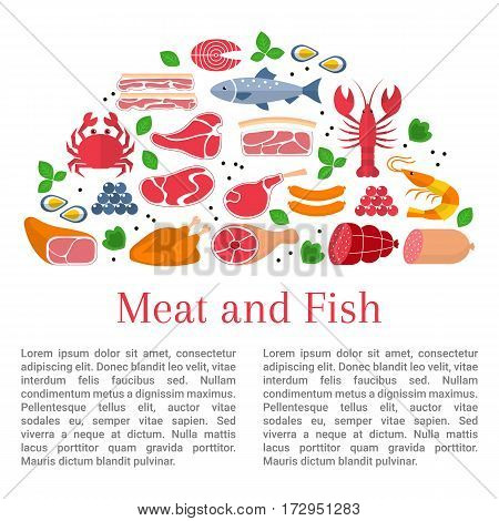 Vector flat design of card template whith different kinds of meat and fish, beef steak, lamb, pork, chicken, sausages, crab, salmon, lobster, shrimp, oyster and caviar