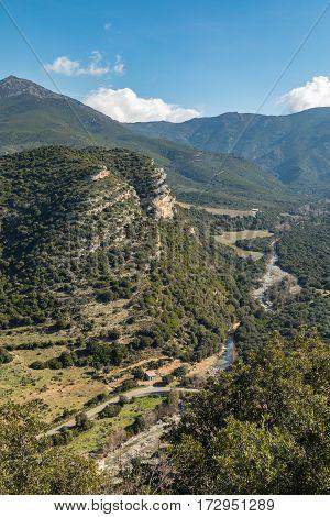 Escarpment And River Valley At Patrimonio In Corsica