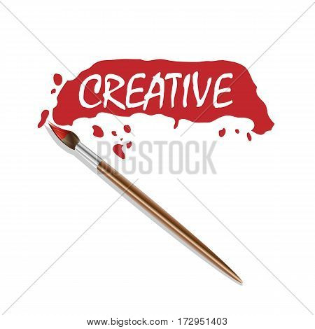 Vector logo brush and red paint. Creative label