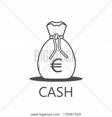 Money Bag Icon black and white style- Vector illustration