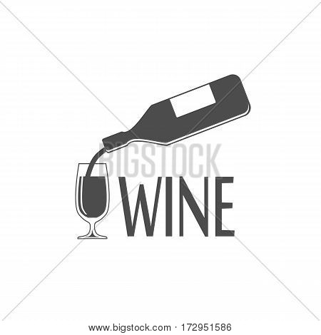 Black silhouette of wine bottle and glass - vector illustration