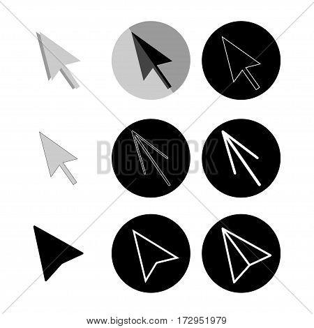Vector cursor arrows set. Mouse arrows icons collection
