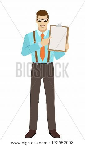 Businessman pointing at clipboard. A man wearing a tie and suspenders. Full length portrait of businessman in a flat style. Vector illustration.