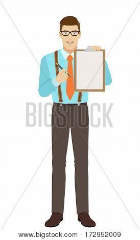 Businessman giving pen for your signature on clipboard. A man wearing a tie and suspenders. Full length portrait of businessman in a flat style. Vector illustration.