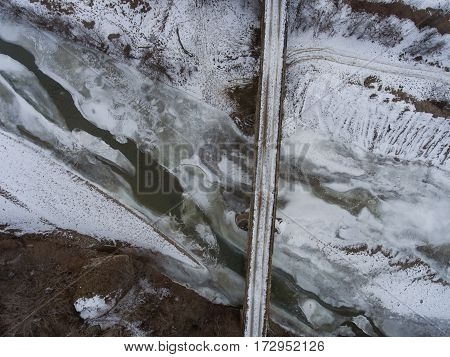 Winter Landscape. Top View Of The Old Stone Bridge.