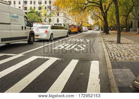 New York, USA, november 2016: Bus Lane in New York near Central Park