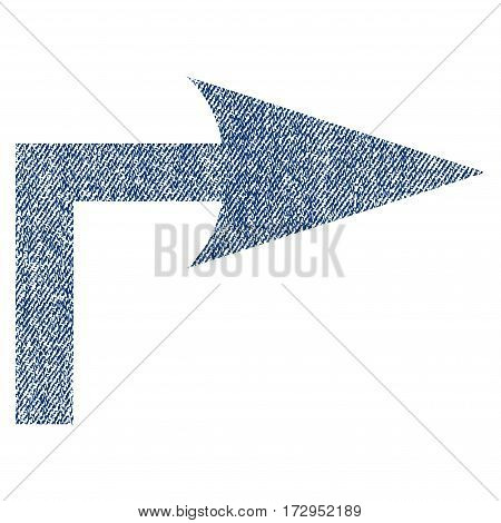 Turn Right vector textured icon for overlay watermark stamps. Blue jeans fabric vectorized texture. Symbol with dirty design. Blue ink rubber seal stamp with fiber textile structure.