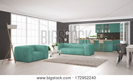 Minimalist White And Turquoise Living And Kitchen, Scandinavian Classic Interior Design