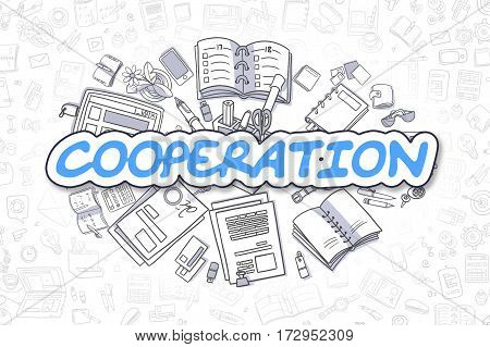 Cooperation - Sketch Business Illustration. Blue Hand Drawn Word Cooperation Surrounded by Stationery. Cartoon Design Elements.