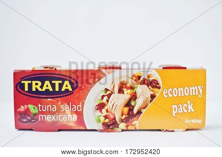 Athens, Greece - February 22, 2017: Tuna Salad Mexican With Cans Trata.