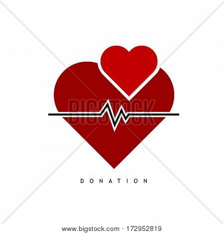 Donation With Heart And Heartbeat Color Illustration
