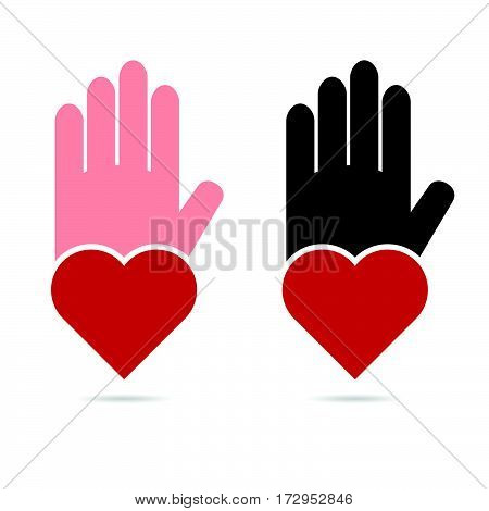 Hands Help With Heart In Red Color Illustration