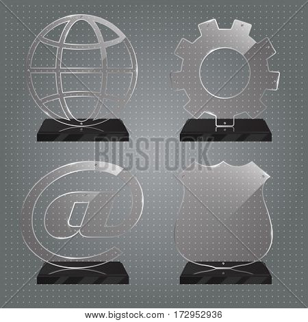 Set of realistic transparent glass trophy awards standing on black base and isolated on gradient background. Different shapes provided. Police shield, cog, planet, internet sign. Vector illustration.