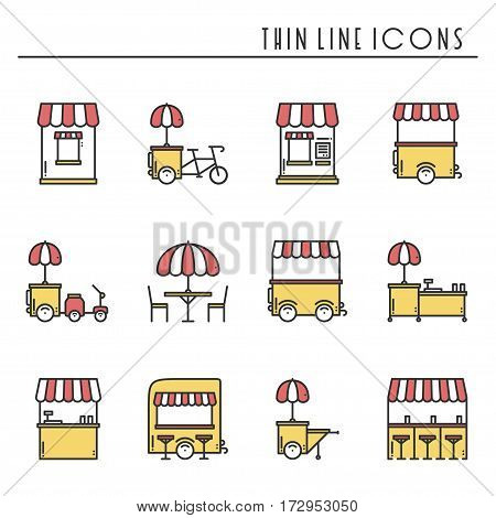 Street food retail thin line icons set. Food truck, kiosk, trolley, wheel market stall, mobile cafe, shop, tent, trade cart. Vector style linear icons. Isolated illustration. Symbols. Yellow red