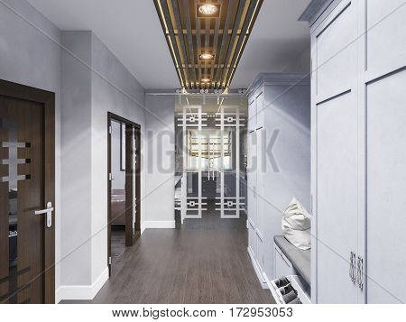 3d illustration hall interior design in classic style. Render the hallway is made in gray and blue color scheme