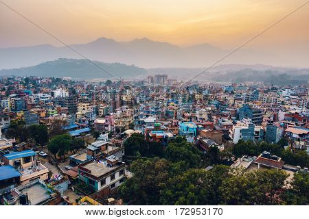 Patan at sunset  in the Kathmandu valley, Nepal