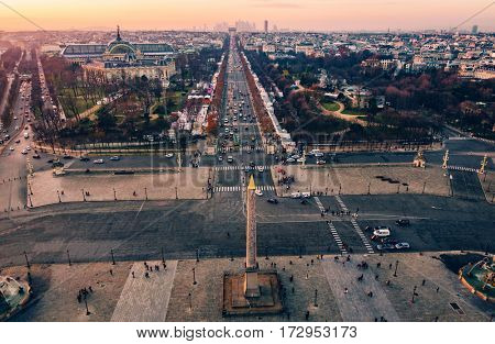 Place de la Concorde and the Champs-Elysees aerial view at sunset in Paris, France