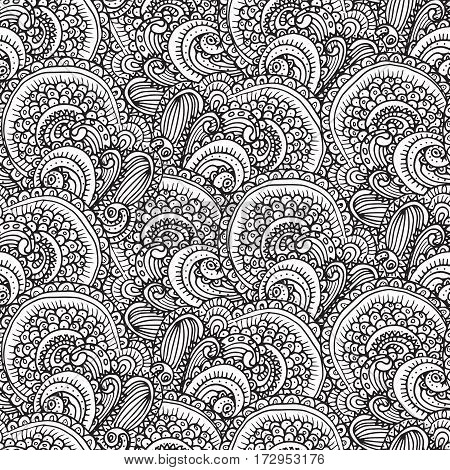 Ethnic paisley seamless pattern in vector. Endless abstract design background