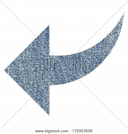 Undo vector textured icon for overlay watermark stamps. Blue jeans fabric vectorized texture. Symbol with scratched design. Blue ink rubber seal stamp with fiber textile structure.