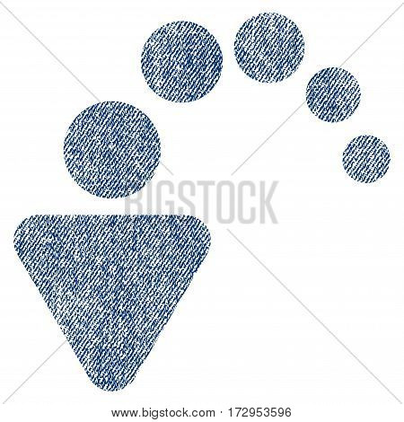 Undo vector textured icon for overlay watermark stamps. Blue jeans fabric vectorized texture. Symbol with dirty design. Blue ink rubber seal stamp with fiber textile structure.