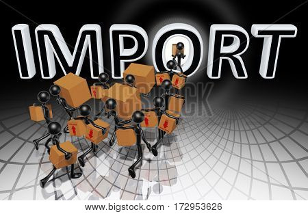 Import Trade Concept With The Original 3D Characters Illustration