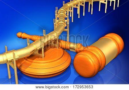 Oil Pipeline Legal Gavel Concept 3D Illustration