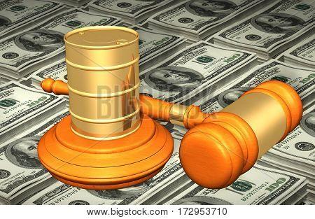 Oil Barrel Law Legal Gavel Concept 3D Illustration